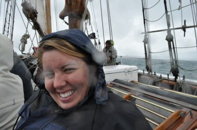 Rain and rough seas on the first part of the sail