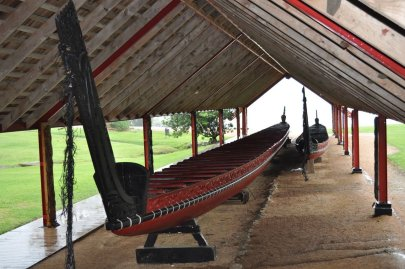 Maori rowing boat made out of single Kauri tree