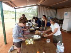 Dinner preparation in camp