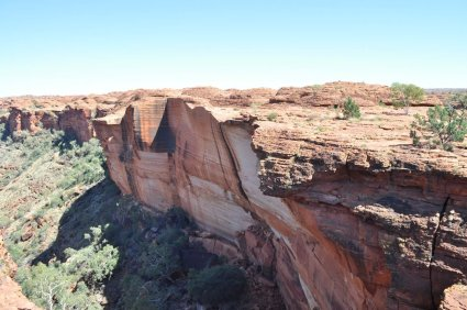 Shear rock face where the canyon wall has collapsed