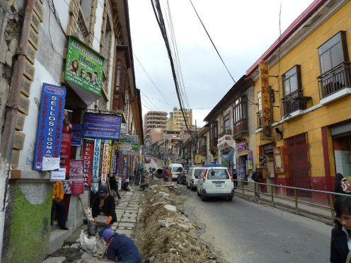 La Paz, our hotel was on this street