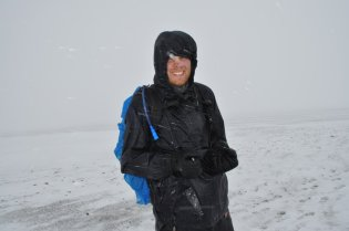 Bill in the snow on Tongariro Alpine Crossing
