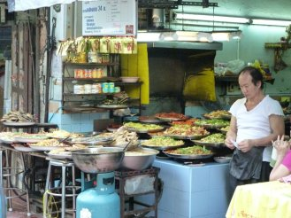 Food market stalls in China town
