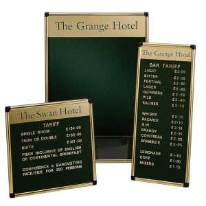 Hospitality Noticeboards, Tariff & Groove Boards