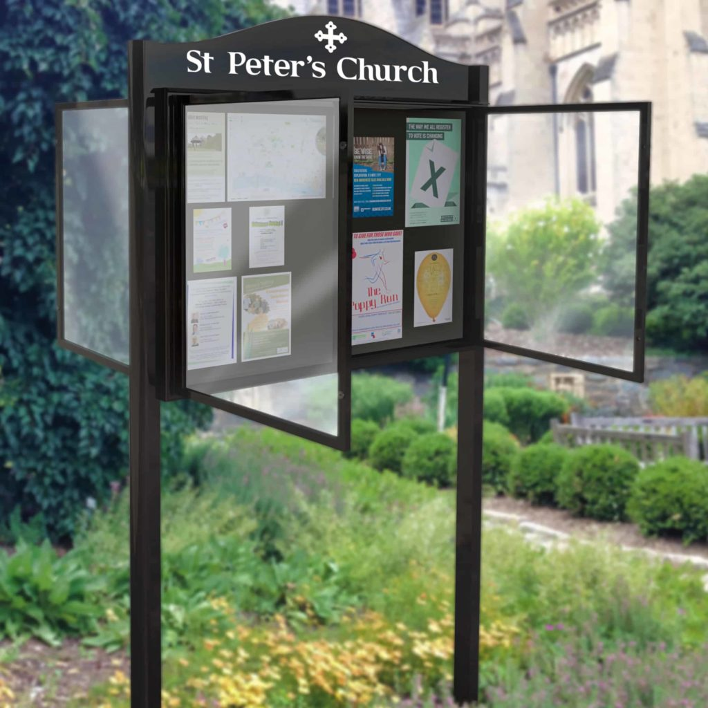 Lynester Double Sided Post Mounted Church Noticeboards