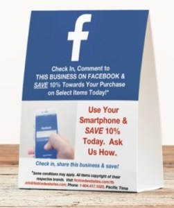 Facebook Check In marketing table tent, front view