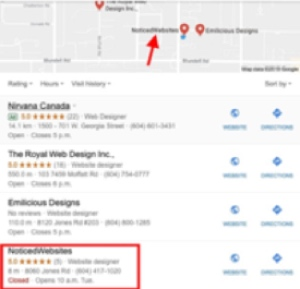 Google My Business local pack example