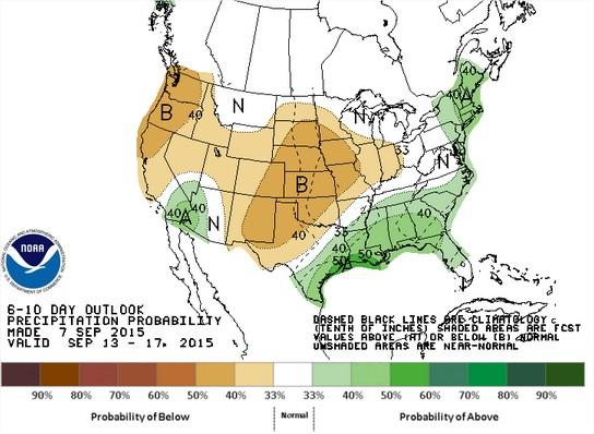 Previsão de chuvas nos EUA para 13 a 17 de setembro - Fonte: NOAA