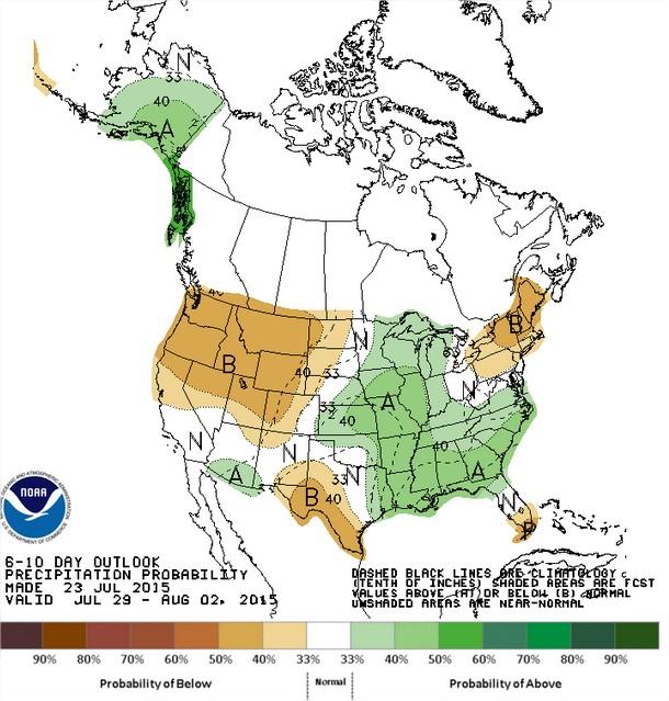 Previsão de chuvas nos EUA entre os dias 29 de julho e 2 de agosto - Fonte: NOAA