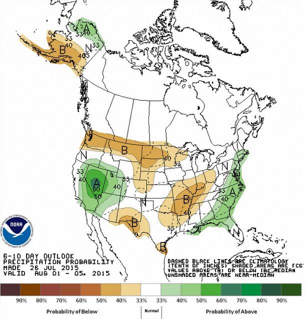 Chuvas nos EUA entre os dias 01 e 05 de agosto - Fonte: NOAA