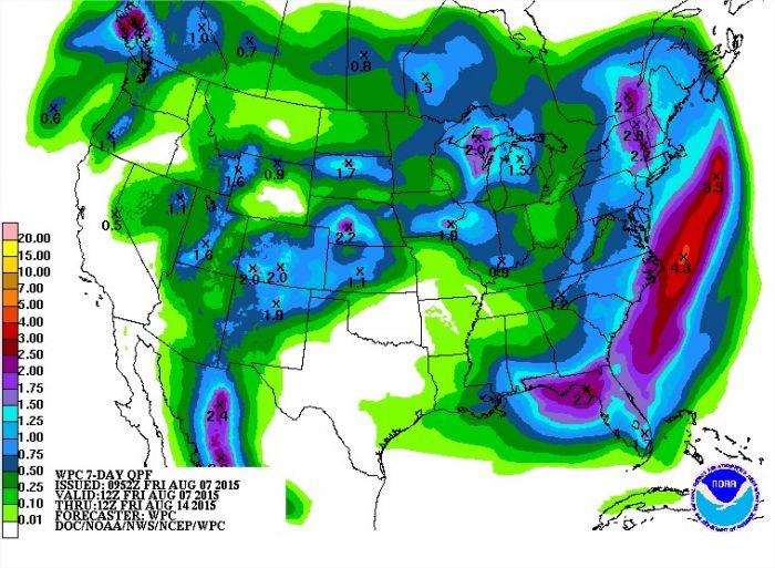 Previsão de chuvas para os EUA nos próximos 7 dias - Fonte: NOAA