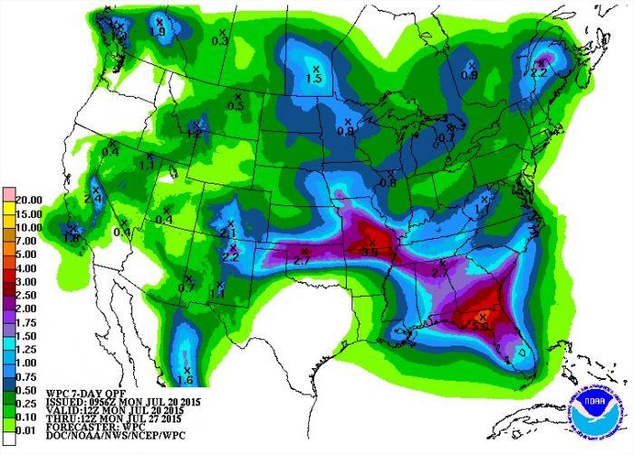 Previsão de chuvas para os próximos 7 dias nos EUA - Fonte: NOAA