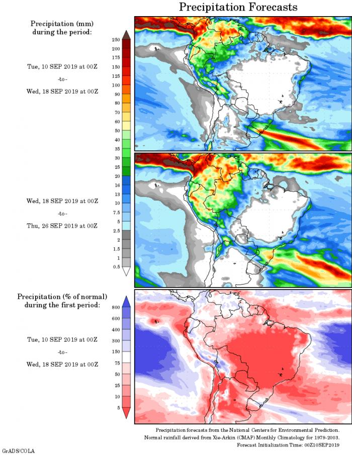 Mapa com a tendência de precipitação acumulada para o período de 10 até 26 de setembro - Fonte: National Centers for Environmental Prediction/NOAA