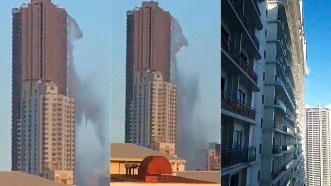 Terremoto en Filipinas: El aterrador momento en que se quiebra la piscina de la terraza en un lujoso rascacielos