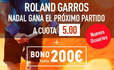 Sportium Roland Garros nadal gana el proximo partido cuota 5