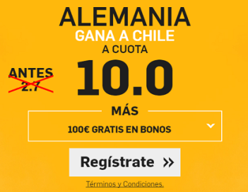 Supercuota Betfair Alemania gana a Chile