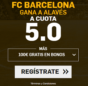 Supercuota Betfair Barcelona gana a Alavés cuota 5.0