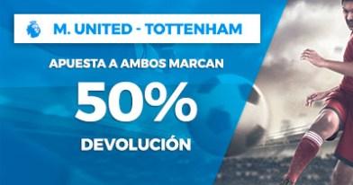 Paston Premier League M. United - Tottenham 50% devolucion ambos marcan