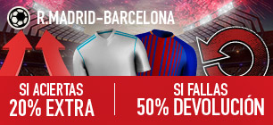 Sportium R. Madrid - Barcelona 20% extra 50% devolucion