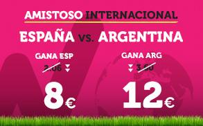 Noticias Apuestas, Supercuota Wanabet Amistoso Internacional España vs Argentina