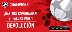 Noticias Apuestas Sportium Champions: Si fallas una combinada por 1 solo resultado ¡Devolución!