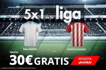 Noticias Apuestas Suertia 5x1 de la Liga Real Madrid - Atlético Madrid hasta 30€ gratis