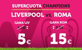 Supercuota Wanabet Champions: Liverpool cuota 5 vs Roma a cuota 15