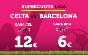 Noticias Apuestas Supercuota Wanabet la Liga: Celta cuota 12 vs Barcelona cuota 6
