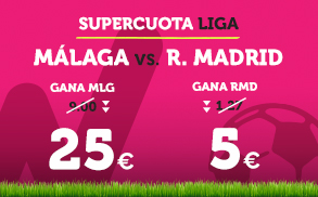 Noticias Apuestas Supercuota Wanabet la Liga: Málaga cuota 25 vs R. Madrid cuota 5