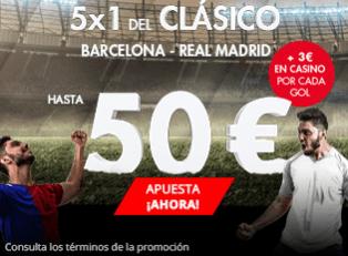 noticias apuestas Suertia 5x1 del Clásico Barcelona - Real Madrid hasta 50€