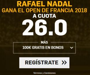 noticias apuestas Supercuota Betfair Rafael Nadal gana el Open de Francia 2018