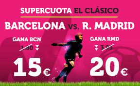 noticias apuestas Supercuota Wanabet El Clásico: Barcelona cuota 15 vs R. Madrid a cuota 20