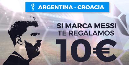 noticias apuestas Paston Mundial Argentina - Croacia Si marca Messi 10€ de regalo!