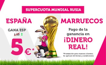 noticias apuestas Supercuota Wanabet Mundial España - Marruecos