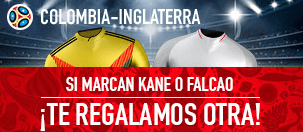noticias apuestas Sportium Colombia - Inglaterra Marcan Kane o Falcao te regalamos otra