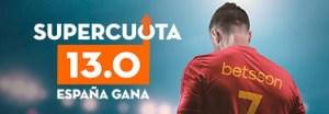 Megacuota 13 a que España gana en Betsson