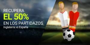 Recupera el 50% en los partidazos Inglaterra v España en Luckia