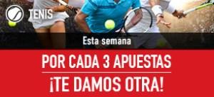 Promo tenis:por cada 3 apuestas te regalamos otra en Sportium