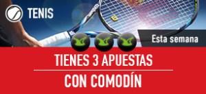 Haz tus Apuestas a cualquier torneo de Tenis. Las 3 primeras son con comodín: Si las fallas ¡Te las devolvemos! Activa esta promoción con el CÓDIGO: TENIS3