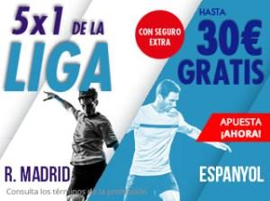 5 por 1 en la Liga hasta 30€ con el Real Madrid en Suertia