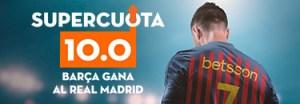 Megacuota 10 para Barcelona en liga en Betsson
