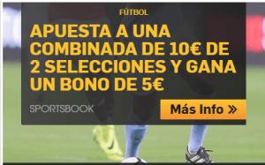 Apuesta a una combinada de 10€ de dos selecciones y gana un bono de 5€ en Betfair