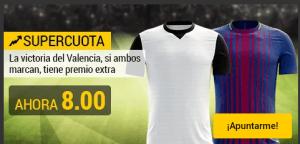 Megacuota 8.0 para el Valencia gana y ambos marcan en liga con Bwin
