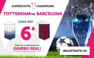Megacuota 6 Champions victoria del Barcelona en Wanabet
