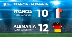 Megacuota doble Francia gana cuota 10-Alemania gana cuota 12 solo en Paston