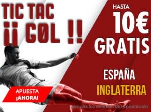 Tic-tac gol,hasta 10€ gratis con España-Inglaterra en Suertia