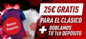 Megacuota 25€ para el clasico Barcelona-Madrid en Sportium
