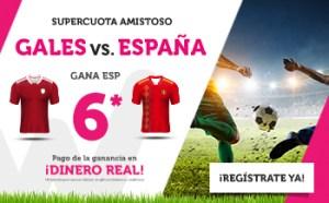 Megacuota 6 gana España  a Gales en Wanabet