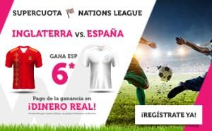 Megacuota 6 para España frente Inglaterra en Wanabet