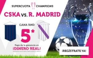 Megacuota 5 para la victoria del Madrid con el Cska Moscu en Wanabet